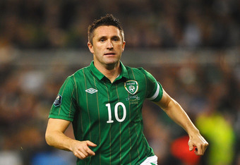 DUBLIN, IRELAND - NOVEMBER 15:  Robbie Keane of Republic of Ireland in action during the EURO 2012 Qualifier Play Off Second Leg match between Republic of Ireland and Estonia at Aviva Stadium on November 15, 2011 in Dublin, Ireland.  (Photo by Laurence Gr