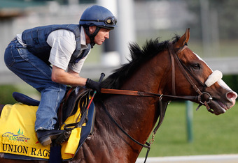 LOUISVILLE, KY - MAY 03:  Union Rags trains on the track in preparation for the 138th Kentucky Derby at Churchill Downs on May 3, 2012 in Louisville, Kentucky.  (Photo by Rob Carr/Getty Images)