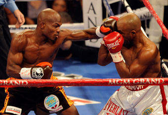 LAS VEGAS, NV - NOVEMBER 12:  (L-R) Timothy Bradley throws a left to the head of Joel Casamayor during their WBO junior welterweight title fight at the MGM Grand Garden Arena on November 12, 2011 in Las Vegas, Nevada.  (Photo by Ethan Miller/Getty Images)