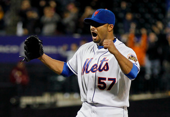 NEW YORK, NY - JUNE 01:  Johan Santana #57 of the New York Mets celebrates after pitching a no hitter against the St. Louis Cardinals at CitiField on June 1, 2012 in the Flushing neighborhood of the Queens borough of New York City. Johan Santana pitches t