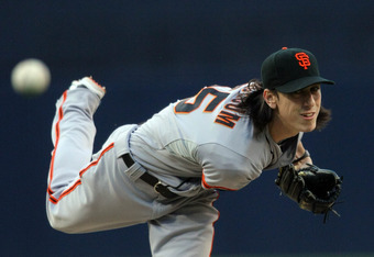 SAN DIEGO, CA - JUNE 5:  Tim Lincecum #55 of the San Francisco Giants throws from the mound against the San Diego Padres during their MLB Baseball Game on June 5, 2012 at Petco Park in San Diego, California. (Photo by Donald Miralle/Getty Images)
