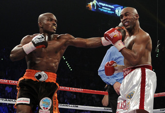 LAS VEGAS, NV - NOVEMBER 12:  (L-R) Timothy Bradley connects with a left to the head of Joel Casamayor during their WBO junior welterweight title fight at the MGM Grand Garden Arena on November 12, 2011 in Las Vegas, Nevada.  (Photo by Harry How/Getty Ima