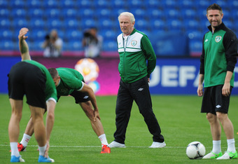 POZNAN, POLAND - JUNE 09:  Republic of Ireland head coach Giovanni Trapattoni looks on during an Republic of Ireland training session prior to tomorrows UEFA EURO 2012 Group C match against Croatia at Municipal Stadium on June 9, 2012 in Poznan, Poland.