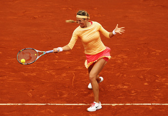 PARIS, FRANCE - JUNE 03:  Victoria Azarenka of Belarus plays a forehand in her women's singles fourth round match against Dominika Cibulkova of Slovakia during day 8 of the French Open at Roland Garros on June 3, 2012 in Paris, France.  (Photo by Matthew