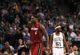 BOSTON, MA - JUNE 07:  LeBron James #6 of the Miami Heat reacts against the Boston Celtics in Game Six of the Eastern Conference Finals in the 2012 NBA Playoffs on June 7, 2012 at TD Garden in Boston, Massachusetts. NOTE TO USER: User expressly acknowledg
