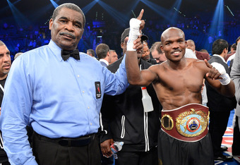 LAS VEGAS, NV - JUNE 09:  Timothy Bradley (R) has his hand raised in victory after defeating Manny Pacquiao by split decision to win the WBO welterweight championship at MGM Grand Garden Arena on June 9, 2012 in Las Vegas, Nevada.  (Photo by Kevork Djanse
