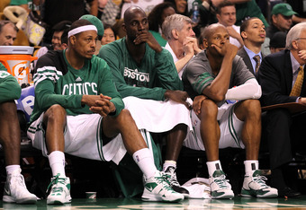 BOSTON, MA - JUNE 07:  (L-R) Paul Pierce #34, Kevin Garnett #5 and Ray Allen #20 of the Boston Celtics look on dejected from the bench in the fourth quarter against the Miami Heat in Game Six of the Eastern Conference Finals in the 2012 NBA Playoffs on Ju