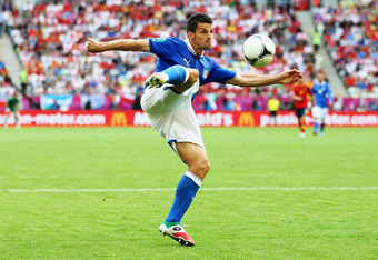 GDANSK, POLAND - JUNE 10:  Cristian Maggio of Italy with the ball during the UEFA EURO 2012 group C match between Spain and Italy at The Municipal Stadium on June 10, 2012 in Gdansk, Poland.  (Photo by Michael Steele/Getty Images)