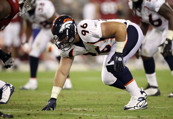 GLENDALE, AZ - SEPTEMBER 01:  Defensive tackle Mitch Unrein #96 of the Denver Broncos during the preseason NFL game against the Arizona Cardinals at the University of Phoenix Stadium on September 1, 2011 in Glendale, Arizona. The Cardinals defeated the Br