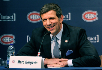 BROSSARD, CANADA - MAY 2:  Marc Bergevin speaks to the media during his introduction as the new General Manager for the Montreal Canadiens at the Bell SportsPlex on May 2, 2012 in Brossard, Quebec, Canada.  (Photo by Richard Wolowicz/Getty Images)