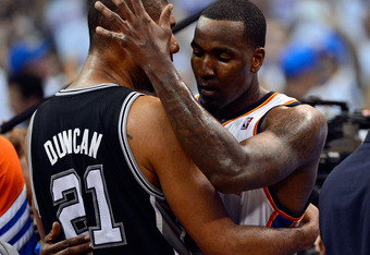 OKLAHOMA CITY, OK - JUNE 06:  Kendrick Perkins #5 of the Oklahoma City Thunder hugs Tim Duncan #21 of the San Antonio Spurs after Game Six of the Western Conference Finals of the 2012 NBA Playoffs at Chesapeake Energy Arena on June 6, 2012 in Oklahoma Cit