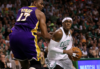 BOSTON - JUNE 13:  Rajon Rondo #9 of the Boston Celtics drives to the basket against Andrew Bynum #17 of the Los Angeles Lakers in the second quarter during Game Five of the 2010 NBA Finals on June 13, 2010 at TD Garden in Boston, Massachusetts. NOTE TO U