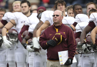 ANN ARBOR, MI - OCTOBER 01:  Head coach Jerry Kill of the Minnesota Golden Gophers stands on the sidelines before the game against the Michigan Wolverines at Michigan Stadium on October 1, 2011 in Ann Arbor, Michigan.  (Photo by Leon Halip/Getty Images)