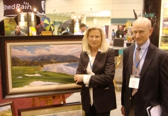 Linda Hartough at the 2010 PGA Show with her brother Dale who was her first subject before Augusta National and U.S. and British Open golf landscapes...
