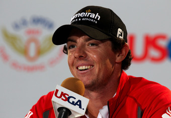 SAN FRANCISCO, CA - JUNE 12:  Rory McIlroy of Northern Ireland speaks with the media during a practice round prior to the start of the 112th U.S. Open at The Olympic Club on June 12, 2012 in San Francisco, California.  (Photo by Scott Halleran/Getty Image