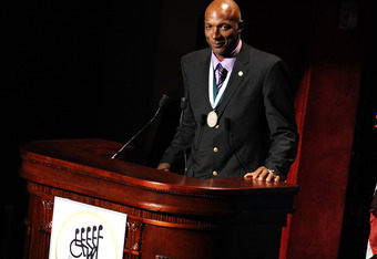 NEW YORK - OCTOBER 06:  Honoree Clyde Drexler speaks at The 24th Annual Great Sports Legends Dinner benefiting The Buoniconti Fund to Cure Paralysis (national fundraising arm of The Miami Project to Cure Paralysis) at The Waldorf=Astoria on October 6, 200