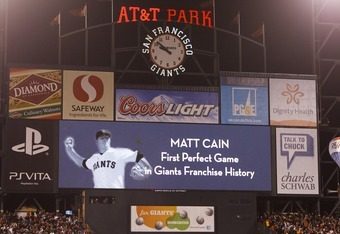 SAN FRANCISCO, CA - JUNE 13: General view of the scoreboard after Matt Cain #18 of the San Francisco Giants (not pictured) pitches a perfect game against the Houston Astros at AT&T Park on June 13, 2012 in San Francisco, California. The San Francisco Gian