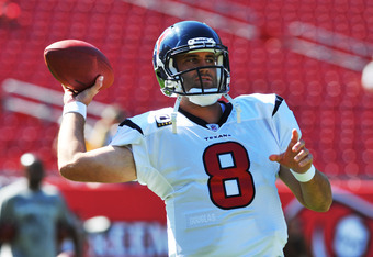 TAMPA, FL - NOVEMBER 13: Quarterback Matt Schaub #8 of the Houston Texans warms up for play against the Tampa Bay Buccaneers November 13, 2011 at Raymond James Stadium in Tampa, Florida. (Photo by Al Messerschmidt/Getty Images)