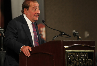 LAS VEGAS, NV - JUNE 09:  Top Rank promoter Bob Arum addresses the media during the post-fight press conference after Manny Pacquiao was defeated by Timothy Bradley by split decision at MGM Grand Garden Arena on June 9, 2012 in Las Vegas, Nevada.  (Photo