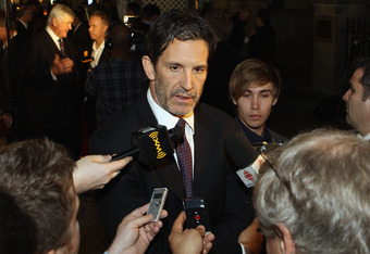 TORONTO, ON - NOVEMBER 14:  Brendan Shanahan speaks with the media prior to the 2011 Hockey Hall of Fame Induction ceremony at the Hockey Hall Of Fame on November 14, 2011 in Toronto, Ontario, Canada.  (Photo by Bruce Bennett/Getty Images)