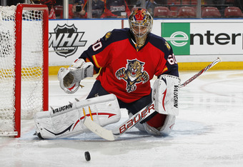 SUNRISE, FL - APRIL 21: Goaltender Jose Theodore #60 of the Florida Panthers defends the net agains the New Jersey Devils in Game Five of the Eastern Conference Quarterfinals during the 2012 NHL Stanley Cup Playoffs at the BankAtlantic Center on April 21,