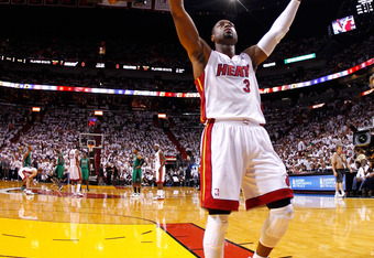 MIAMI, FL - MAY 30:  Dwyane Wade #3 of the Miami Heat gestures towards the fans prior to the opening tip-off against the Miami Heat in Game Two of the Eastern Conference Finals in the 2012 NBA Playoffs on May 30, 2012 at American Airlines Arena in Miami,