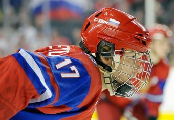 CALGARY, CANADA - JANUARY 5:  Mikhail Grigorenko #17 of Team Russia waits for a face-off during the 2012 World Junior Hockey Championship Gold Medal game against Team Sweden at the Scotiabank Saddledome on January 5, 2012 in Calgary, Alberta, Canada.  Tea