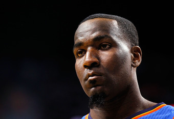 MIAMI, FL - JUNE 17:  Kendrick Perkins #5 of the Oklahoma City Thunder looks on in the first quarter against the Miami Heat in Game Three of the 2012 NBA Finals on June 17, 2012 at American Airlines Arena in Miami, Florida.  NOTE TO USER: User expressly a
