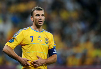 DONETSK, UKRAINE - JUNE 15:  Andriy Shevchenko of Ukraine looks on during the UEFA EURO 2012 group D match between Ukraine and France at Donbass Arena on June 15, 2012 in Donetsk, Ukraine.  (Photo by Lars Baron/Getty Images)