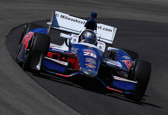 WEST ALLIS, WI - JUNE 15:  Marco Andretti, drives the #26 Team RC Cola Andretti Autosport Chevrolet Dallara during practice for the IZOD IndyCar Series Milwaukee IndyFest presented by XYQ at The Milwaukee Mile on June 15, 2012 in West Allis, Wisconsin.  (
