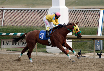 LAUREL, MD - JANUARY 04:  Jockey J.D. Acosta rides Rapid Redux #3 to win the 6th race at Laurel Park for the horses 22nd consecutive victory on January 4, 2012 in Laurel, Maryland.  (Photo by Rob Carr/Getty Images)