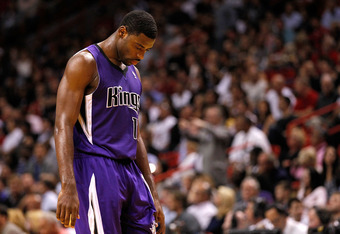 MIAMI, FL - FEBRUARY 21:  Tyreke Evans #13 of the Sacramento Kings looks on during a game against the Miami Heat at American Airlines Arena on February 21, 2012 in Miami, Florida. NOTE TO USER: User expressly acknowledges and agrees that, by downloading a