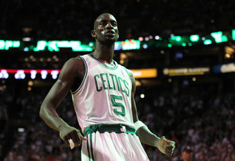 BOSTON, MA - JUNE 01:  Kevin Garnett #5 of the Boston Celtics reacts in the first half against the Miami Heat in Game Three of the Eastern Conference Finals in the 2012 NBA Playoffs on June 1, 2012 at TD Garden in Boston, Massachusetts.  NOTE TO USER: Use