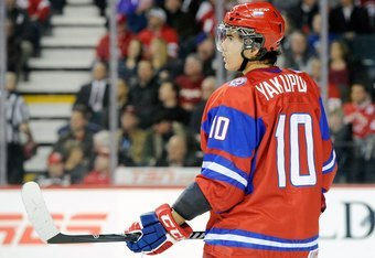 CALGARY, CANADA - JANUARY 5:  Nail Yakupov #10 of Team Russia waits for a face-off during the 2012 World Junior Hockey Championship Gold Medal game against Team Sweden at the Scotiabank Saddledome on January 5, 2012 in Calgary, Alberta, Canada.  Team Swed