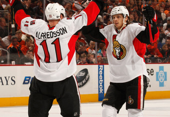 Daniel Alfredsson (left), the Ottawa captain, will tutor fellow Swede Karlsson (right) into potentially becoming the next captain of Canada's capital city team.