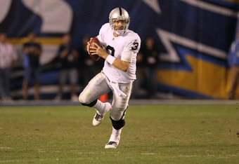 SAN DIEGO, CA - NOVEMBER 10:  Quarterback Carson Palmer #3 of the Oakland Raiders runs with the ball against the San Diego Chargers at Qualcomm Stadium on November 10, 2011 in San Diego, California.  (Photo by Stephen Dunn/Getty Images)