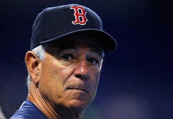 MIAMI, FL - JUNE 11:  Manager Bobby Valentine #25 of the Boston Red Sox looks on during batting practice before a game against the Miami Marlins at Marlins Park on June 11, 2012 in Miami, Florida.  (Photo by Sarah Glenn/Getty Images)