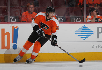 PHILADELPHIA, PA - MAY 01: James van Riemsdyk #21 of the Philadelphia Flyers skates against the New Jersey Devils in Game Two of the Eastern Conference Semifinals during the 2012 NHL Stanley Cup Playoffs at Wells Fargo Center on May 1, 2012 in Philadelphi