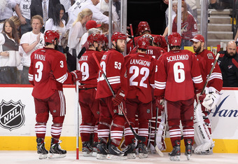 GLENDALE, AZ - MAY 22: The Phoenix Coyotes skate off the ice in Game Five of the Western Conference Finals during the 2012 NHL Stanley Cup Playoffs against the Los Angeles Kings at Jobing.com Arena on May 22, 2012 in Glendale, Arizona.  The Kings defeated