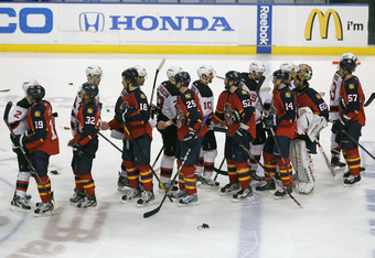 SUNRISE, FL - APRIL 26: The Florida Panthers and the New Jersey Devils shake hands at center ice after the conclusion of Game Seven of the Eastern Conference Quarterfinals during the 2012 NHL Stanley Cup Playoffs at the BankAtlantic Center on April 26, 20
