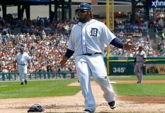 DETROIT, MI - JUNE 07: Prince Fielder #28 of the Detroit Tigers scores a run in the first inning on a passed ball while playing the Cleveland Indiansat Comerica Park on June 7, 2012 in Detroit, Michigan.  (Photo by Gregory Shamus/Getty Images)