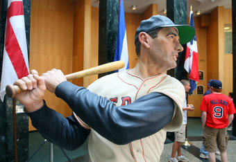 COOPERSTOWN, NY - JULY 25:  A statue of Ted Williams is seen at the National Baseball Hall of Fame during induction weekend on July 25, 2009 in Cooperstown, New York.  (Photo by Jim McIsaac/Getty Images)