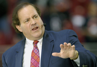 ESPN commentator Chris Berman during the ESPN Monday Night Football game between the Chicago Bears and St. Louis Rams in St. Louis, Missouri on December 11, 2006.  The Bears won 42 - 27. (Photo by A. Messerschmidt/Getty Images)
