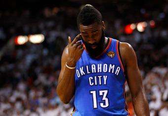 MIAMI, FL - JUNE 17:  James Harden #13 of the Oklahoma City Thunder stands on court with his head down in the second half against the Miami Heat in Game Three of the 2012 NBA Finals on June 17, 2012 at American Airlines Arena in Miami, Florida.  NOTE TO U