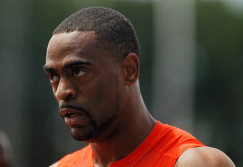 NEW YORK, NY - JUNE 09:  Tyson Gay of the United States looks on after winning the Men's B 100m during the adidas Grand Prix at Icahn Stadium on Randall's Island on June 9, 2012 in New York City.  (Photo by Mike Stobe/Getty Images)