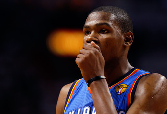 MIAMI, FL - JUNE 19:  Kevin Durant #35 of the Oklahoma City Thunder looks on against the Miami Heat in Game Four of the 2012 NBA Finals on June 19, 2012 at American Airlines Arena in Miami, Florida. NOTE TO USER: User expressly acknowledges and agrees tha