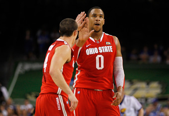 NEW ORLEANS, LA - MARCH 31:  Jared Sullinger #0 and Aaron Craft #4 of the Ohio State Buckeyes give each other a five in the second half while taking on the Kansas Jayhawks during the National Semifinal game of the 2012 NCAA Division I Men's Basketball Cha