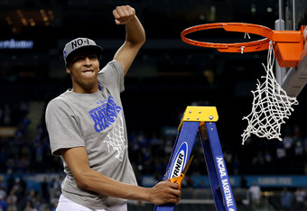 NEW ORLEANS, LA - APRIL 02:  Anthony Davis #23 of the Kentucky Wildcats celebrates before he cuts down the net after the Wildcats defeat the Kansas Jayhawks 67-59 in the National Championship Game of the 2012 NCAA Division I Men's Basketball Tournament at