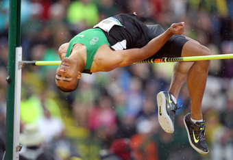 EUGENE, OR - JUNE 22:  Ashton Eaton competes in the high jump portion of the decathalon during Day One of the 2012 U.S. Olympic Track & Field Team Trials at Hayward Field on June 22, 2012 in Eugene, Oregon.  (Photo by Andy Lyons/Getty Images)