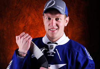 PITTSBURGH, PA - JUNE 22:  Slater Koekkoek, drafted tenth overall by the Tampa Bay Lightning, poses for a portrait during Round One of the 2012 NHL Entry Draft at Consol Energy Center on June 22, 2012 in Pittsburgh, Pennsylvania.  (Photo by Jamie Sabau/Ge